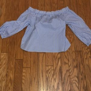 NWOT J. Crew striped blue and white blouse
